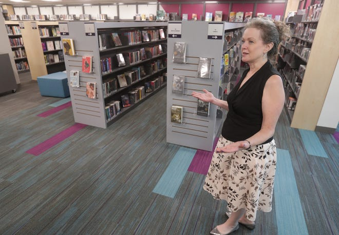 Stephanie Cargill, communications director for Stark Library, talks about the new teen section at the newly renovated Stark County District Library North Branch in Canton.