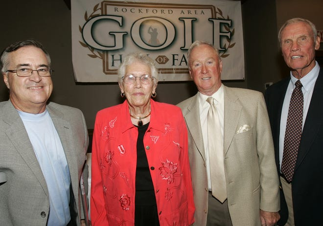 Shirley Dommers, shown with fellow 2008 members being inducted into the Rockford Area Golf Hall of Fame, won five Illinois Women's State Amateur titles and four State Women's Seniors titles.