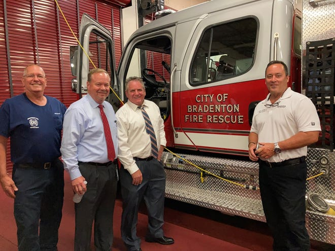 Bradenton's new City Administrator Rob Perry visited various city departments this week as he prepares to officially take over the role on Monday.  Pictured: Bradenton Fire Rescue Battalion Chief Steve Trompke, Mayor Gene Brown, City Administrator Rob Perry and Fire Chief Chuck Edwards