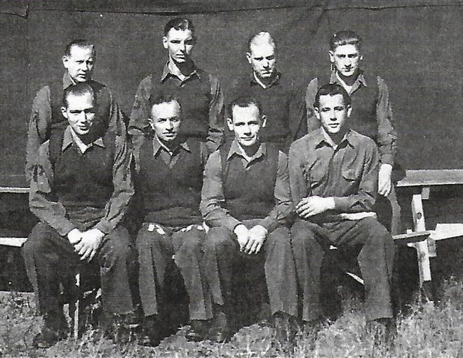 Group of Wilmington POWs who worked on the dairy farm of Otto Leeuwenburg on Market Street outside the city limits.