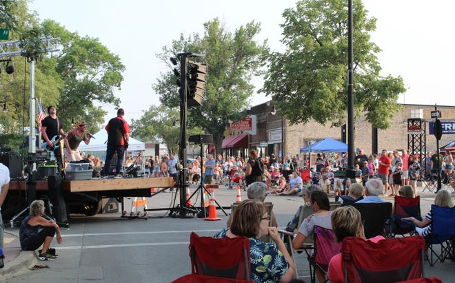 A sea of people gathered for Thursday's concert in downtown Aberdeen to hear St. Paul-based band, Rhino. The concert was part of the Summer Concert Series organized by the Aberdeen Downtown Association.