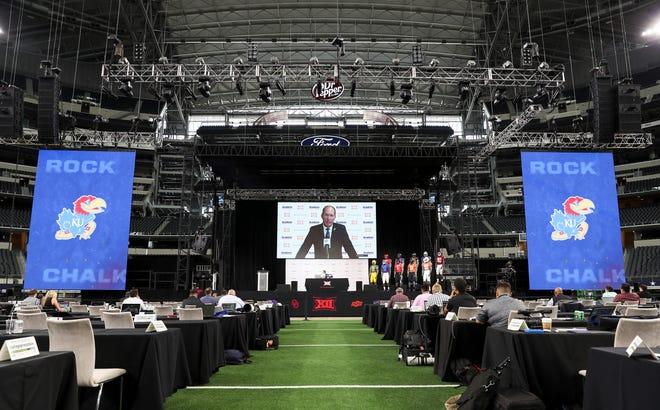 Kansas Jayhawks football coach Lance Leipold speaks virtually to the media during Big 12 media days July 15 at AT&T Stadium in Arlington, Texas.