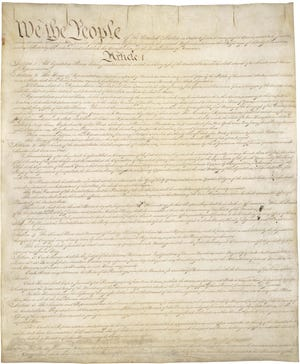 The first page of the U.S. Constitution.