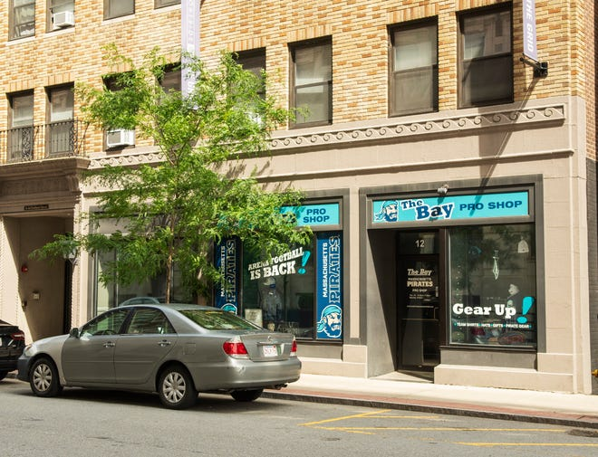The Bay, the Massachusetts Pirates Pro Shop, is located at 10 Portland St. in the former location of Isaiah Thomas Books and Prints.