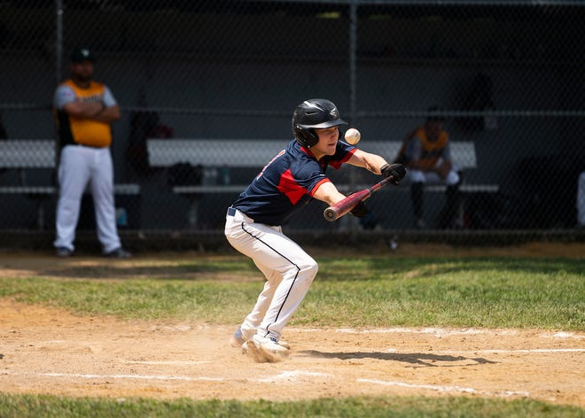 PNJ Blue's Connor Loehr, shown here laying down a bunt Friday against Vermont, scored three runs in Sunday's win over PNJ Red.
