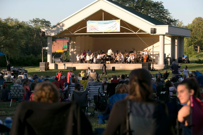 Crowds gather at Institute Park for a free concert by the Massachusetts Symphony Orchestra on July 9, 2017.