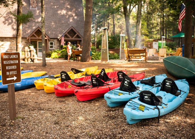 Kayaks available for campers at Pine Acres Family Camping Resort in Oakham Friday.