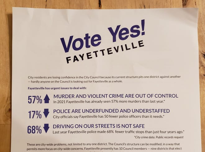 An organization advocating a change to the structure of the Fayetteville City Council has sent out mailers that highlight statistics related to crime.