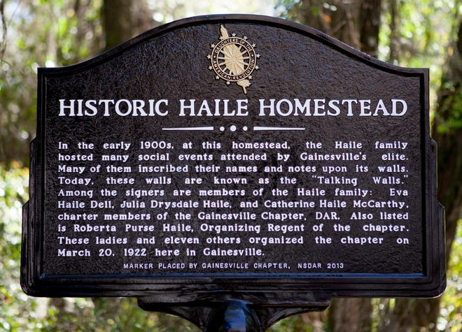 A historic marker at the Haile Homestead in Gainesville.