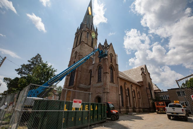 RUPCO workers renovate the First United Methodist Church for the use of community and workforce development space in Newburgh, NY on Friday, July 16, 2021.