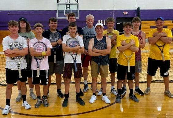 Pictured are the participants of the clinic: (Front, left to right) William Milner, Lucus Stroud, Kirk Hughes, Dawson Poe, Adin Monroe, (back, left to right) Riley Manship, Treyvin Street, Isaac McBride, Master Professional Mike O'Connell, Charlie Higgins, Xander Phelps, and Paoli coach Matt Wolfe.