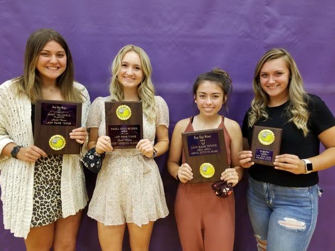 Paoli's varsity award winners (left to right) Maddi Warren, Faith Wilder, Rylie Atkins and Tinsley Moffatt.