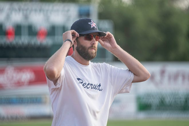 Colorado Recruits coach Eddie Williams makes calls from the third base line during the Tony Andenucio Memorial Tournament on Thursday July 15, 2021 at the Runyon Sports Complex.