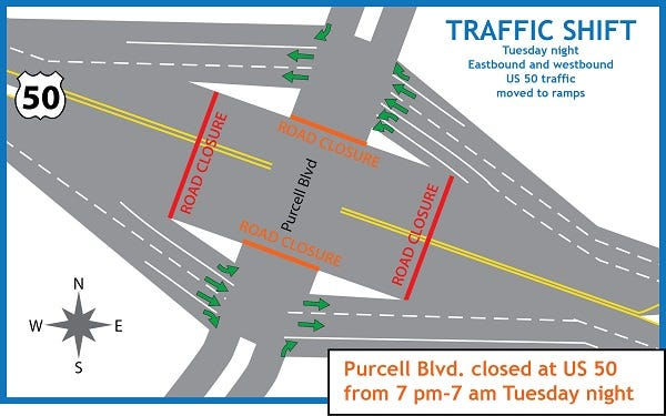Motorists traveling north and southbound on U.S. 50 will be directed on to the on-and-off ramps at the Purcell Blvd. intersection beginning Tuesday evening.