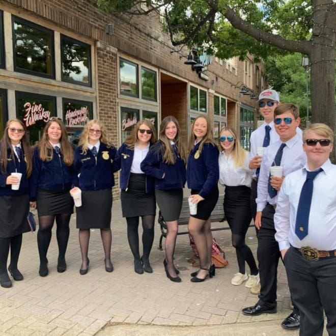 """Members of Waxahachie FFA gather in downtown Fort Worth for the 93rd Texas FFA State Convention. Waxahachie FFA was recognized as a """"Superior Chapter"""" for 2020-2021 at the convention."""