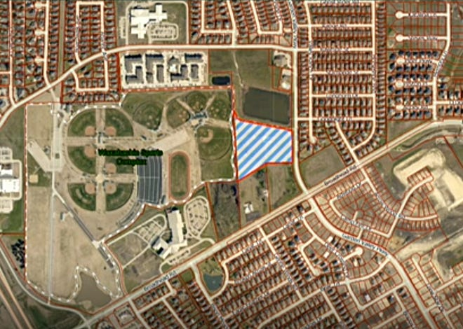 This aerial image shows the property east of the Waxahachie Sports Complex (crosshatched in blue) to be known as The Hamilton at Garden Valley. A final plat for the property was approved by the Waxahachie Planning and Zoning Commission during Tuesday night's meeting.