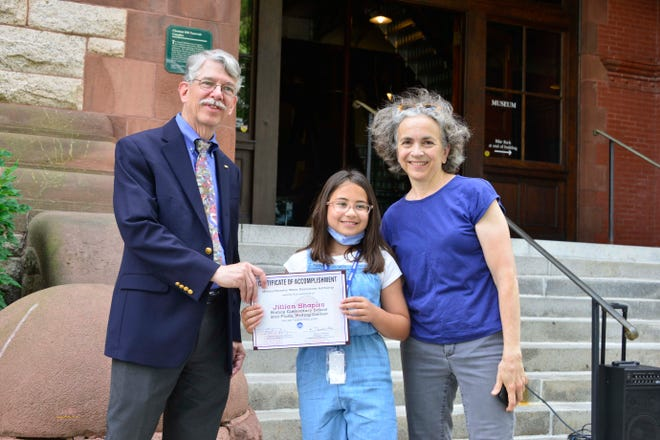 Pictured, from left: Stephen Estes-Smargiassi, MWRA's director of planning and sustainability and Waterworks Museum board member, Jillian Shapiro and Bishop School teacher Annette Brubaker.