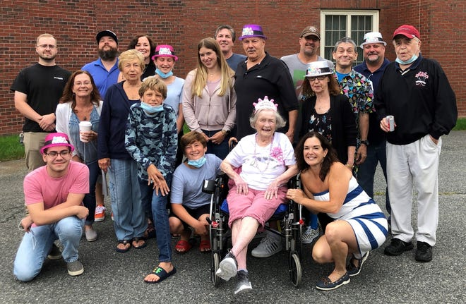 Anne Lavallee celebrated her 100th birthday on July 14 with family and friends. On Oct. 1, 1944, Anne Carey married Raymond D. Lavallee, a Marlborough City Councilor. In the photo, Anne is surrounded by her children, grandchildren and great-grandchildren.