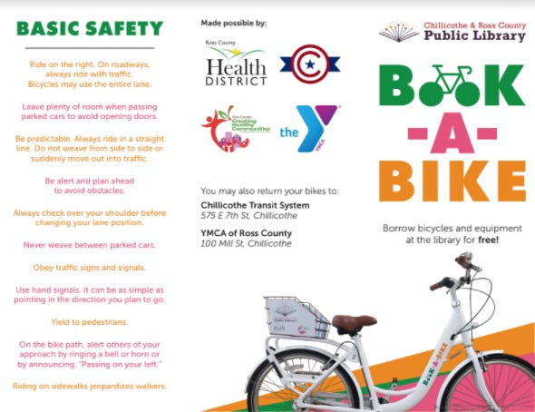The Chillicothe and Ross County Public Library is now offering a Book-A-Bike program that will allow community members to borrow bicycles and other equipment for free.