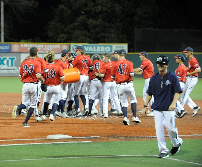 Paints celebrating the walk-off victory against the West Virginia Miners.