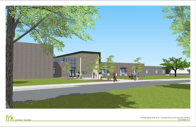This rendering shows an estimation of what Sugar Creek Elementary will look like when completed next fall. The school will be able to hold about 750 kindergarten through fifth-grade students.