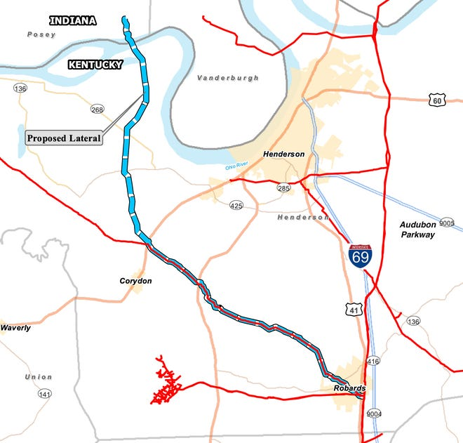 """A map provided by Texas Gas Transmission shows a proposed 24-mile-long natural gas pipeline (labeled as """"Proposed Lateral"""" and marked as a dashed blue line) it wants to construct from Robards to CenterPoint Energy's A.B. Brown power plant in Southern Indiana. (Image provided)"""