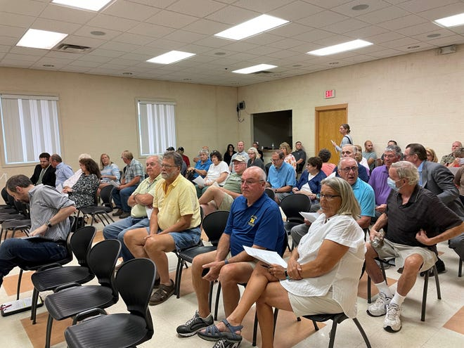 Concerned residents gather for a Brighton City Council meeting on July 15, 2021 at the Brighton Community Center, 555 Brighton St.