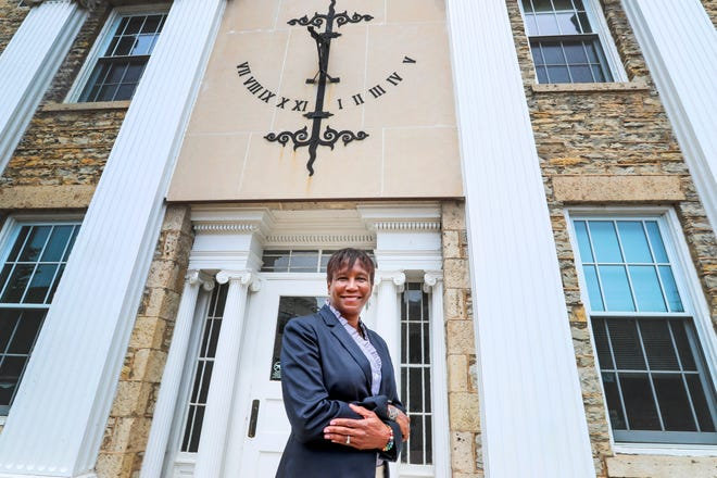 President Laurie Carter poses for a portrait outside Main Hall on  July 14, 2021, at Lawrence University in Appleton.