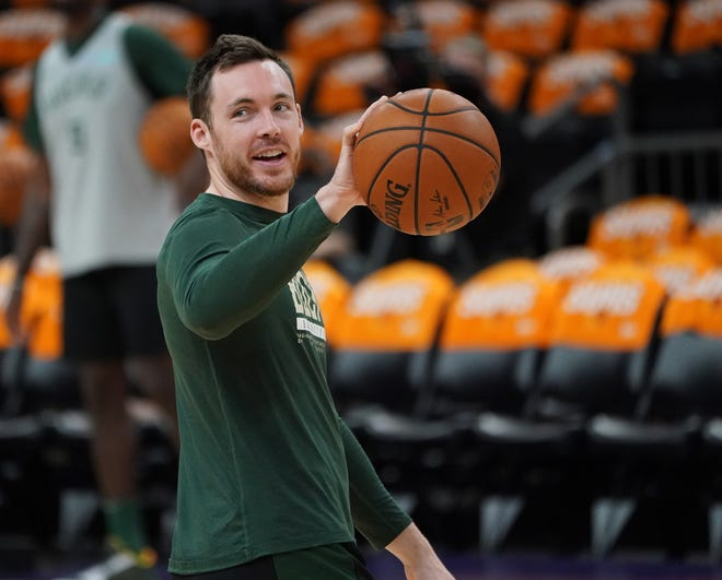 Milwaukee Bucks guard Pat Connaughton during practice at Footprint Center in Phoenix on Friday, July 16, 2021.