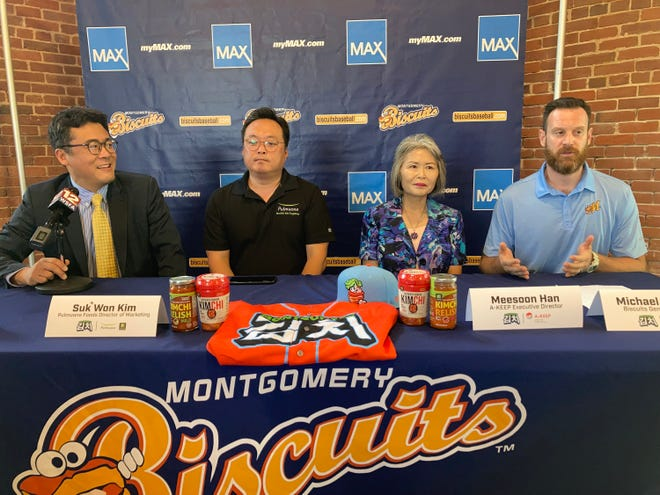 The Montgomery Biscuits announced that Friday's game will be Korean Heritage Night on Friday, July 16, 2021. From left are Soo Seok Yang, the Biscuits Korean ambassador and an attorney with Beasley Allen Law firm, Suk Won Kim of Pulmuone Foods, Meesoon Han, the executive director or A-KEEP, and Montgomery Biscuits general manager Mike Murphy.