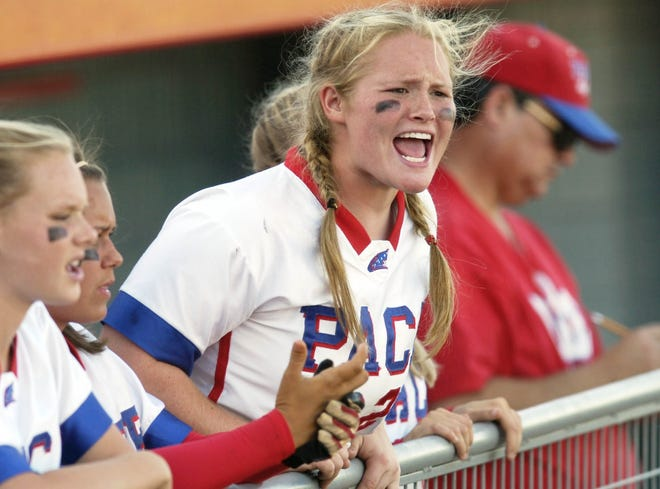 Pace player Kirstyn Joiner cheers on her team during their Class 5A state semifinal game at Plant City Stadium in 2007. Joiner was recently hired as Milton's head softball coach.