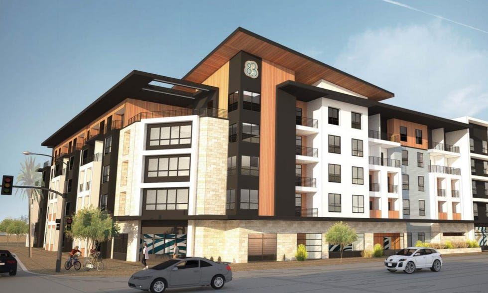A rendering shows the proposed Converge at P83 apartment building. The Peoria Planning and Zoning Commission in July made the first step paving the way for the five-story, 195-unit building proposed for 75th Avenue and Paradise Lane.