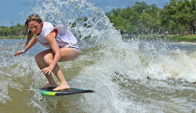 Kylee Espenson competes in the Wake the Desert tournament at Lake Nasworthy on Friday, July 16, 2021.