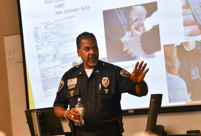St. Cloud Police Chief Blair Anderson speaks during a Community Policing Agreement meeting Thursday, July 15, 2021, in St. Cloud.