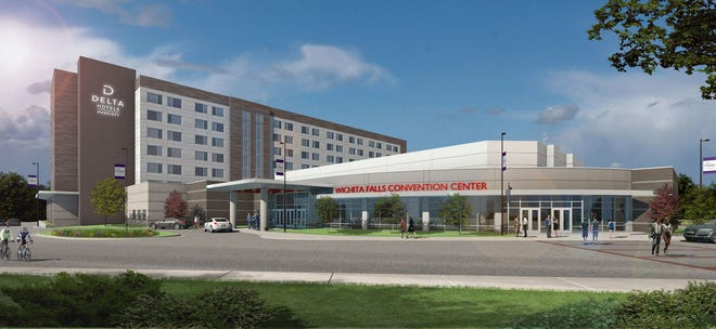 Artist rendering of proposed hotel, conference center