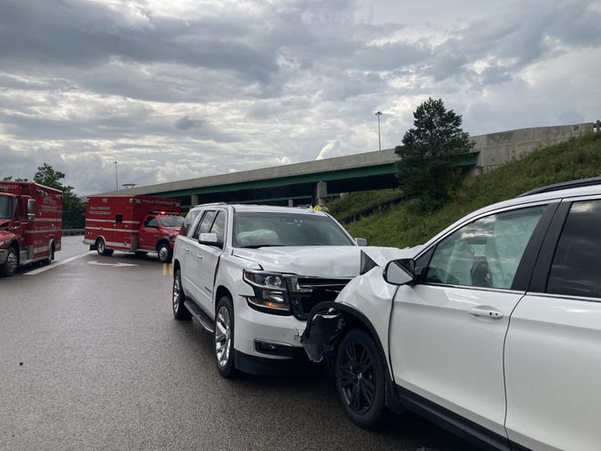 One person was taken to Genesis and two were treated on scene after a head-on collision near the I-70 ramp off U.S. 40 early Friday evening.