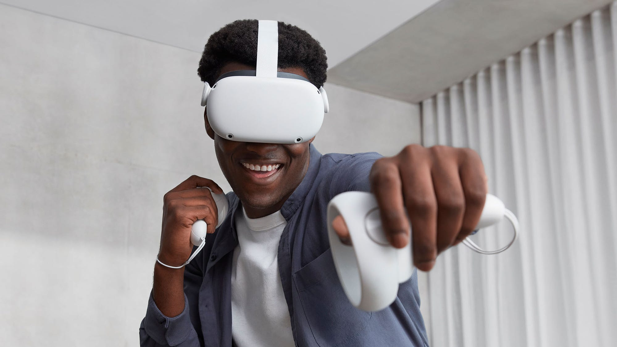 Oculus Quest 2 is cable-free and can download and stores content via WiFi.