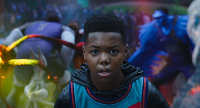 """Cedric Joe as Dom James in """"Space Jam: A New Legacy""""."""