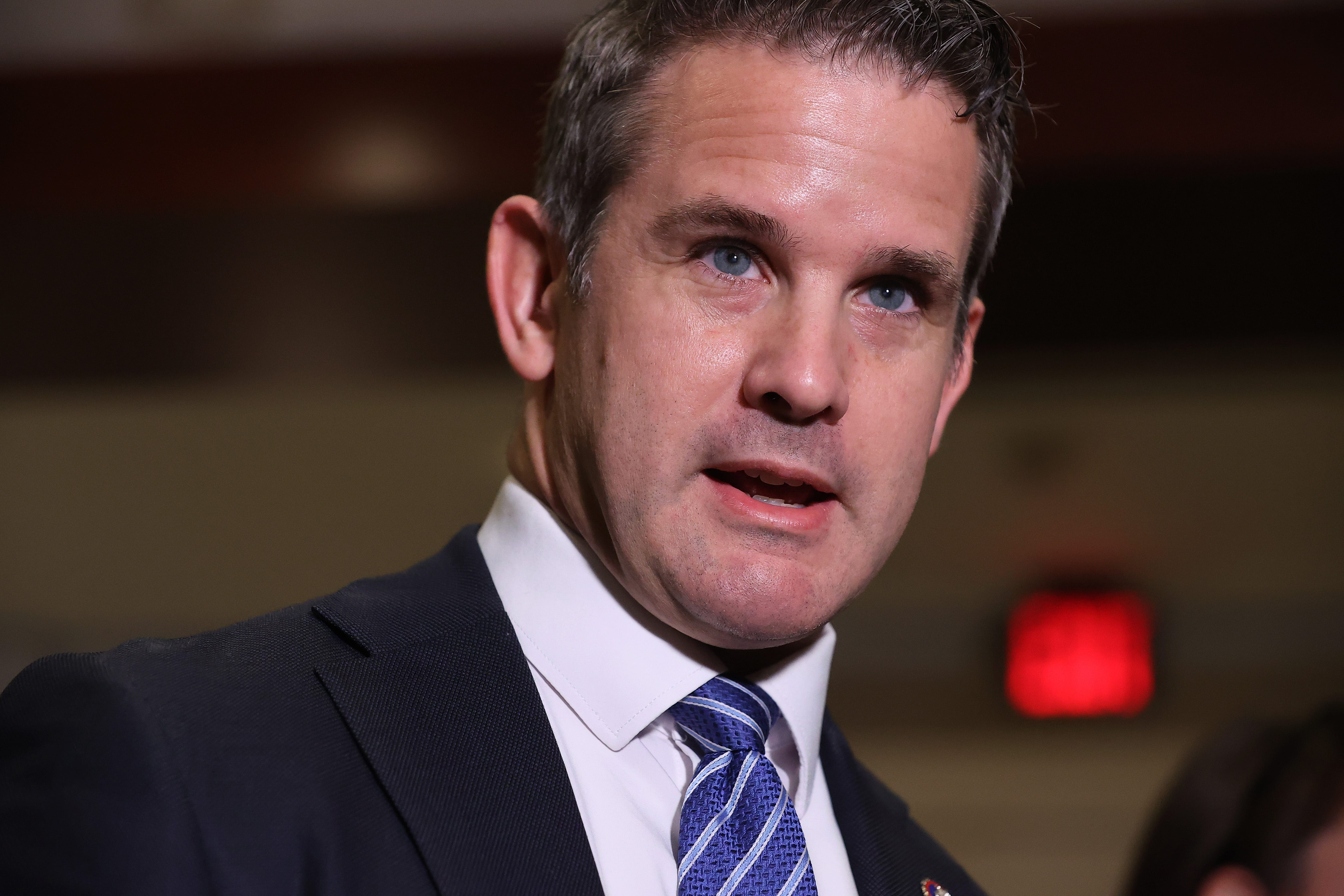 Rep. Adam Kinzinger, R-Ill., talks to reporters following a House Republican conference meeting in the U.S. Capitol Visitors Center on May 12.