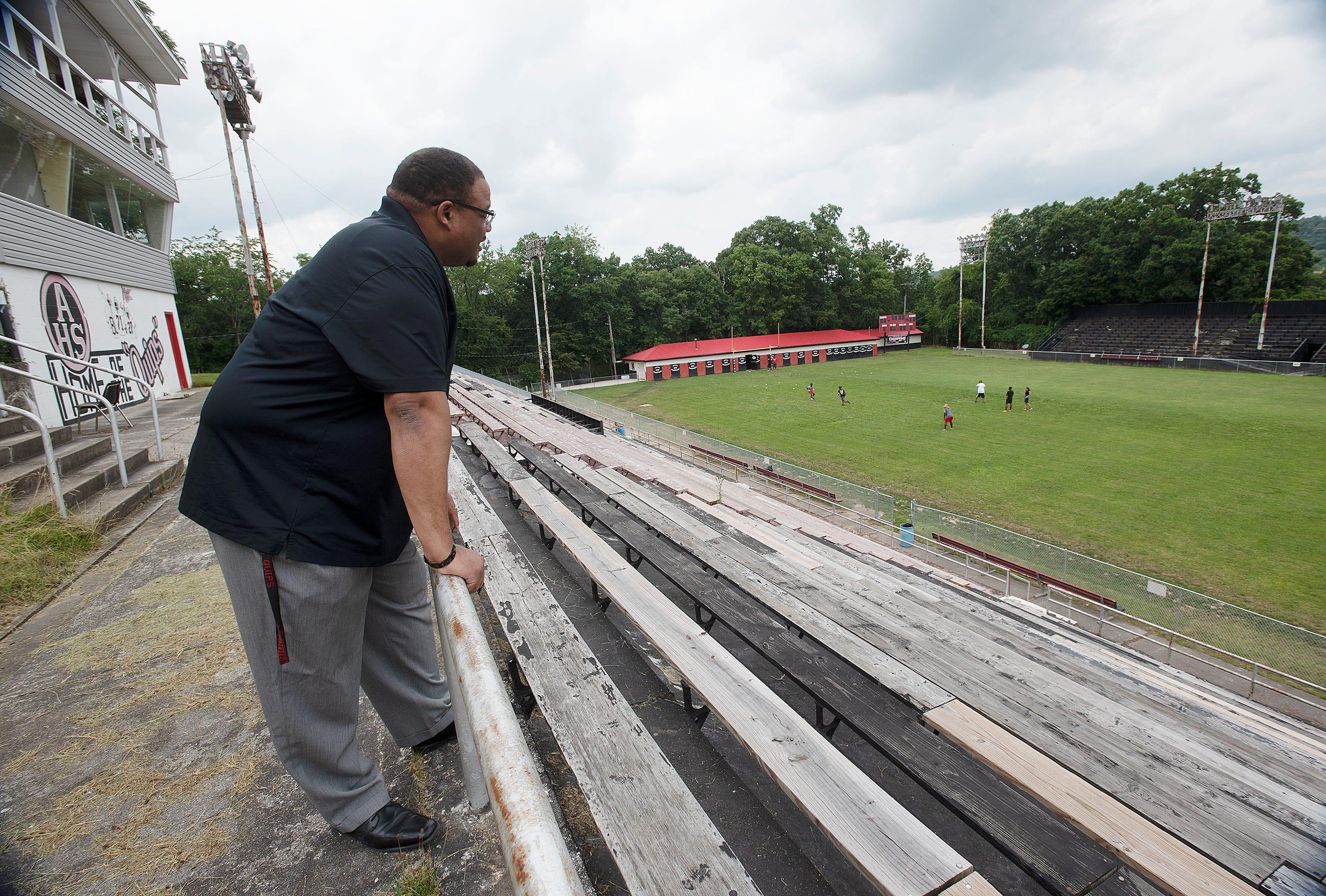 Aliquippa Mayor Dwan Walker watches a few players practice on July 15, 2021, at Carl A. Aschman Memorial Stadium.