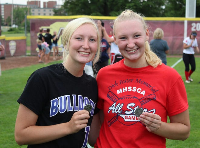 From left, Inland Lakes sisters and players Emily Van Daele and Kelsey Van Daele both received Michigan High School Softball Coaches Association (MHSSCA) Division 4 All-State medals at Central Michigan University in Mount Pleasant on Wednesday, July 14. Kelsey Van Daele, a senior for the Bulldogs this past season, competed as a member of the Red team in the MHSSCA's Division 4 Senior All-Star game.