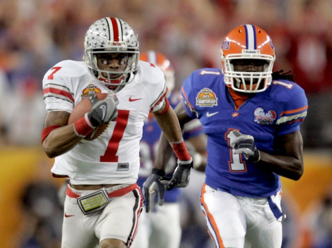 In his last play for Ohio State, Ted Ginn Jr. runs the opening kickoff for a touchdown against Florida in the national championship game in 2007.