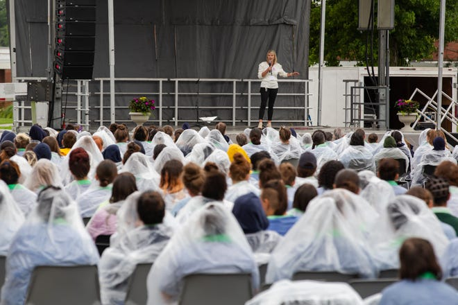 Leah Howard, of Living Word Church, speaks to incarcerated women at the Ohio Reformatory for Women in Marysville during Prison Fellowship's Angel Tree Parent Day program on Saturday. The program was the first outside event allowed in the prison since the COVID-19 pandemic began.