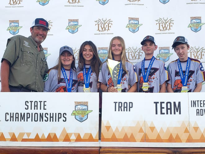 State Trap Champions in IA Team & Squad include (From left) Addie Beth Shouse, Cara Dobbs, Zianne Botha, Ryan Bytwerk, Michael O'Neal. Not pictured: Bastion Botha.
