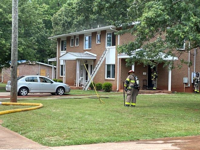 An apartment on Hankins Drive caught fire Thursday.
