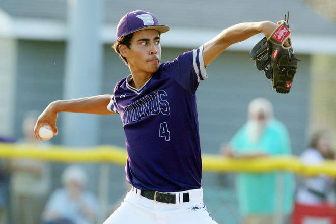 Burlington High School's Juan Reyes (4) delivers a pitch during their Class 4A substate quarterfinal game against Davenport Central High School Friday July 16, 2021 at Burlington.