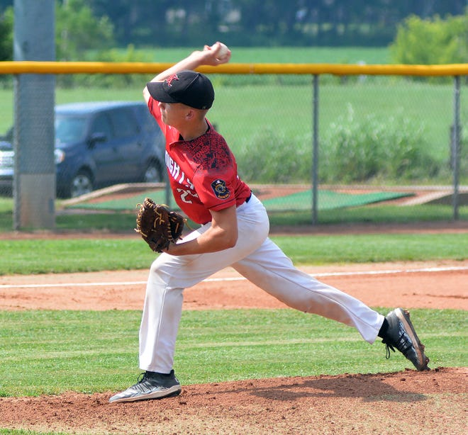 Newton Junior Knight Parker Schultz, normally a catcher, took to the mound Friday to post a one-hit win over the Buhler Nationals 15U team.