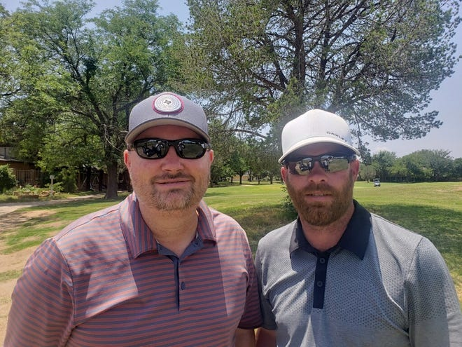 Jason Staggs, left, and Shaun Melville, right, are the leaders after Saturday's second round of the Stampede partnership at LakeRidge Country Club. The tournament concludes Sunday.