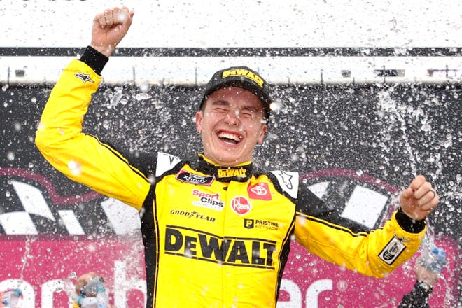 Norman native Christopher Bell celebrates in victory lane after winning the NASCAR Xfinity Series race at New Hampshire Motor Speedway on Saturday.