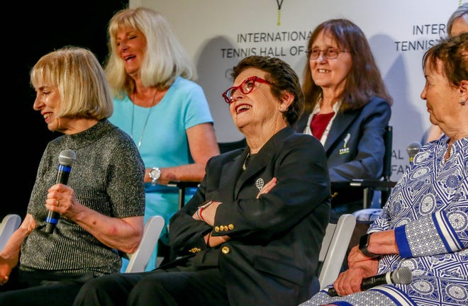 The Original 9 led the way for women's tennis. They were honored on Saturday at the International Tennis Hall of Fame induction ceremony in Newport. From left in the back row, Valerie Ziegenfuss, Peaches Bartkowicz, with Julie Heldman with microphone, Billie Jean King, center front, and Nancy Richey.